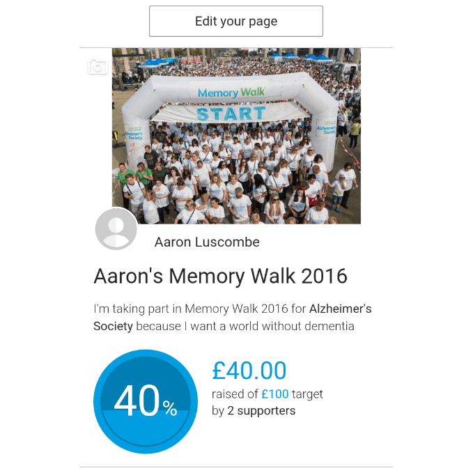 The Memory Walk 2016 for Alzheimer's Society - Aaron Luscombe