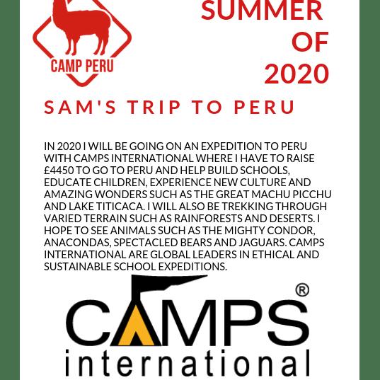 Camps International Peru 2020 - Sam Garwood