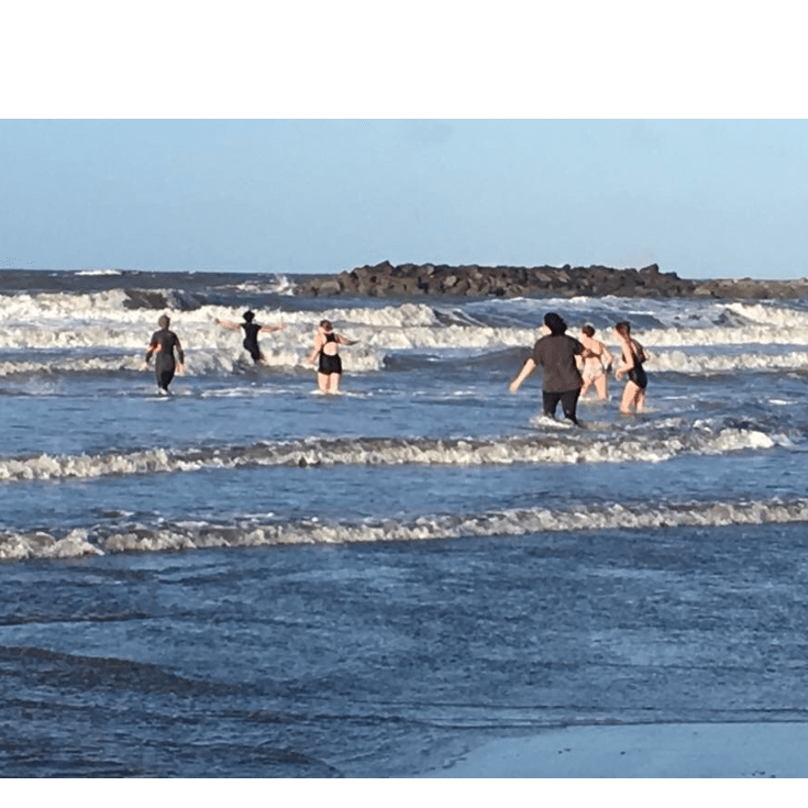 Borth Boxing Day Dip in the Sea for Amnesty International - A J Willliamson