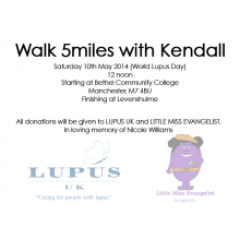 5 Mile Walk for Lupus UK and Little Miss Evangelist 2014- Kendall Williams